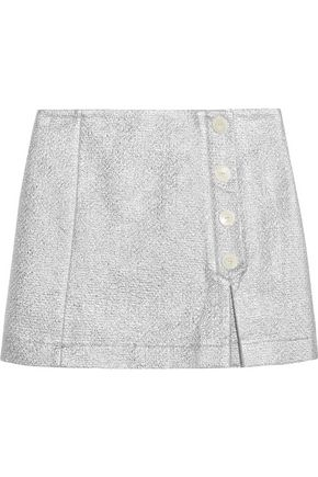 MAISON KITSUNÉ Metallic cotton-blend cloqué mini skirt