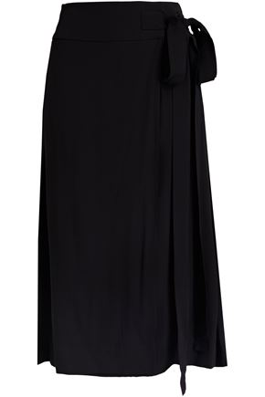 MARNI Pleated crepe wrap skirt