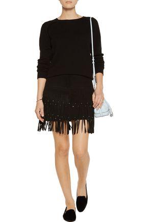 REBECCA MINKOFF Flight embellished fringed suede mini skirt