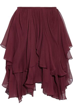 CHLOÉ Asymmetric layered silk-georgette mini skirt