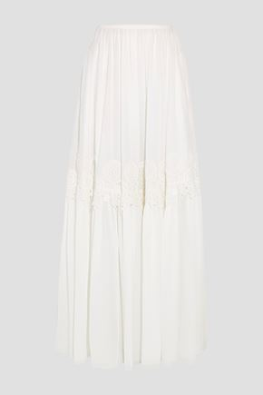 CHLOÉ Guipure lace-trimmed stretch-silk mousseline maxi skirt