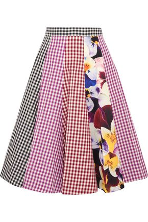 CHRISTOPHER KANE Gingham cotton-twill midi skirt