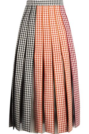 CHRISTOPHER KANE Pleated gingham cotton-twill and tulle midi skirt