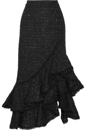 ERDEM Cerena ruffled metallic tweed skirt