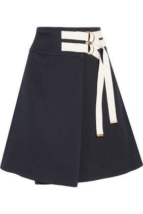 MARNI Canvas-trimmed twill wrap skirt