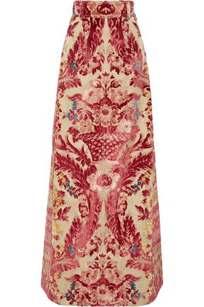MIU MIU Devoré silk and cotton-blend maxi skirt