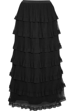 REDValentino Tiered georgette and plissé-tulle maxi skirt