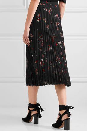 REDValentino Pleated floral-print chiffon midi skirt