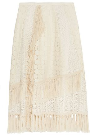 SEE BY CHLOÉ Tasseled crocheted lace skirt