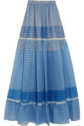 STELLA McCARTNEY Elsa tiered printed silk-blend chiffon maxi skirt