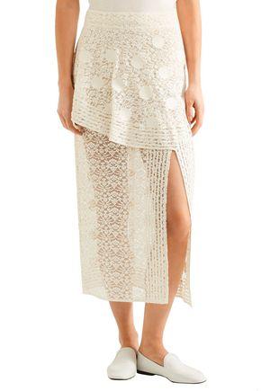 STELLA McCARTNEY Appliquéd cotton-blend lace midi skirt