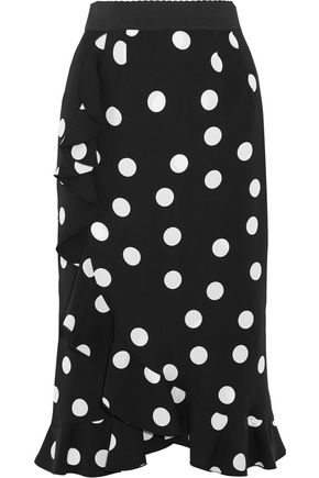 DOLCE & GABBANA Ruffled polka-dot stretch-silk charmeuse skirt