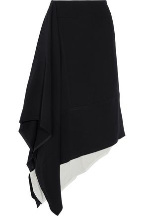 MARNI Asymmetric crepe and cotton midi skirt