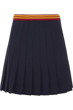 MIU MIU Pleated wool-blend mini skirt