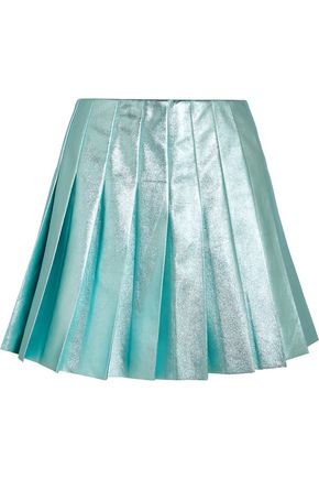 MIU MIU Pleated metallic leather mini skirt