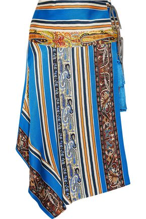 ETRO Asymmetric printed silk-faille wrap skirt