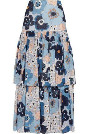 CHLOÉ Floral-print cotton-gaufré maxi skirt