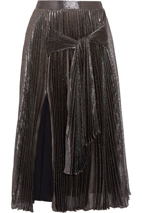 CHRISTOPHER KANE Pleated silk-blend lamé midi skirt