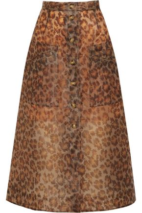 CHRISTOPHER KANE Leopard-print rubberized midi skirt
