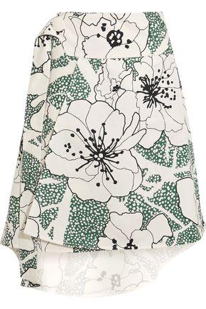 MARNI Asymmetric printed cotton-blend twill skirt