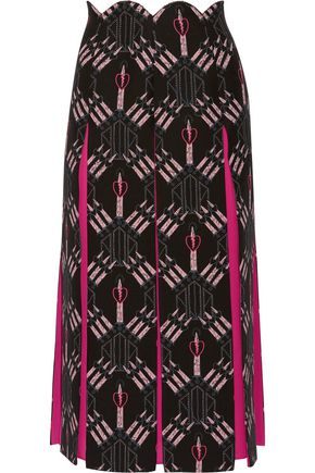 VALENTINO Love Blades silk-paneled printed wool-blend midi skirt