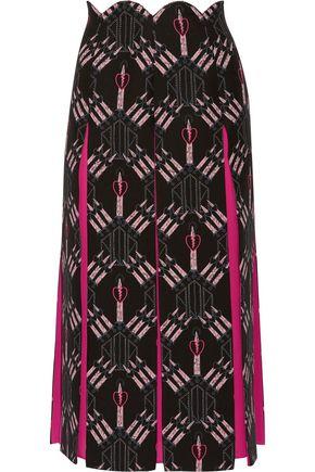 VALENTINO Love Blades silk-paneled printed wool-blend midi skirt