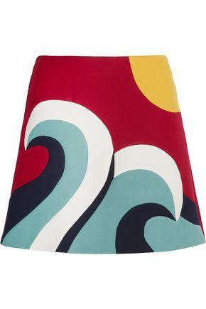 REDValentino Color-block cotton-blend crepe mini skirt