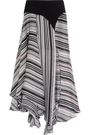 GIAMBATTISTA VALLI Crepe-trimmed striped silk-satin and chiffon skirt