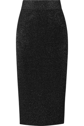 CUSHNIE ET OCHS Metallic stretch-knit midi skirt