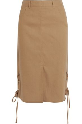 SEE BY CHLOÉ Lace-up linen-blend midi skirt