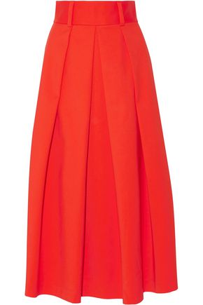 TIBI Agathe pleated cady midi skirt