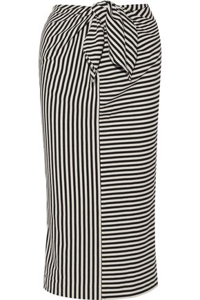 TIBI Ren tie-front striped cotton-blend jersey midi skirt