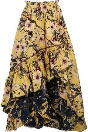 PHILOSOPHY di LORENZO SERAFINI Asymmetric ruffled floral-jacquard maxi skirt