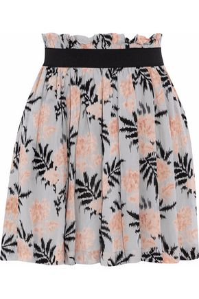 GANNI Pleated printed chiffon mini skirt