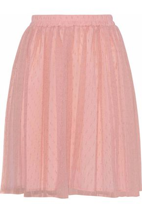 REDValentino Gathered point d'esprit mini skirt