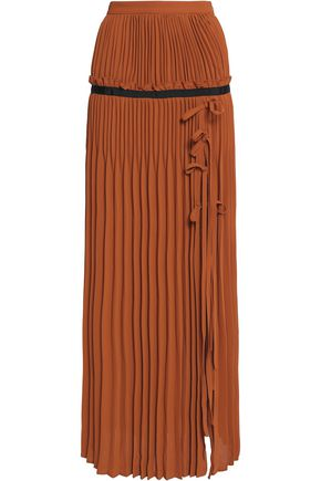 SELF-PORTRAIT Flared pleated crepe maxi skirt