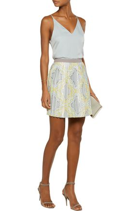 RAOUL Pleated cotton-blend jacquard mini skirt