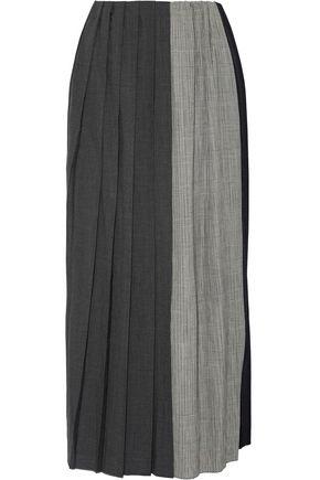 FACETASM Pleated paneled wool midi skirt