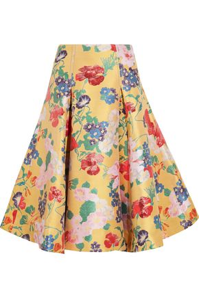 VALENTINO Silk-blend jacquard skirt