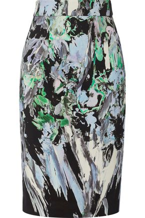 MILLY Printed cotton-blend pencil skirt