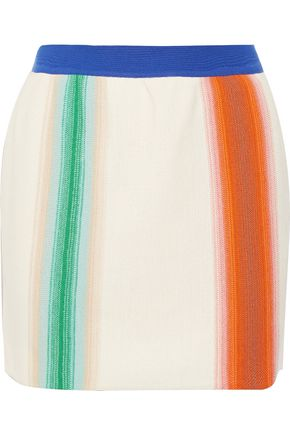 MISSONI Striped crochet-knit wool mini skirt
