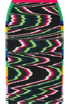 MISSONI Paneled printed wool-blend skirt