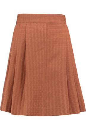 MISSONI Pleated crochet-knit wool-blend mini skirt