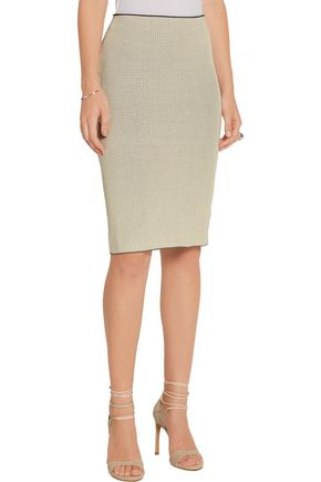 CALVIN KLEIN COLLECTION Perforated stretch-knit skirt
