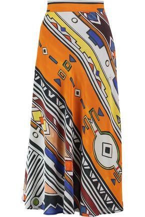 STELLA JEAN Printed silk midi skirt