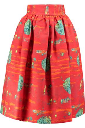 STELLA JEAN Pleated printed cotton midi skirt