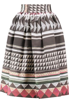 STELLA JEAN Gathered printed cotton-blend midi skirt