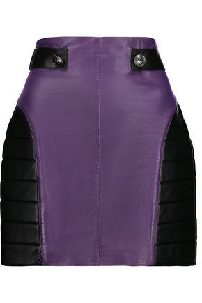 PIERRE BALMAIN Two-tone ribbed leather mini skirt