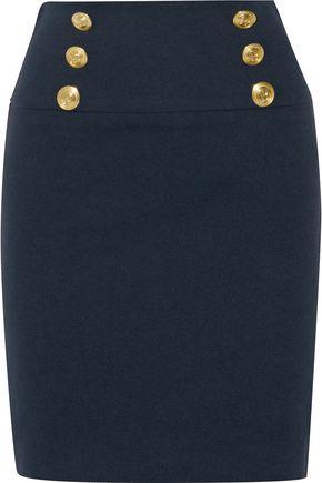 PIERRE BALMAIN Button-detailed cotton-blend mini skirt