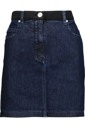 PIERRE BALMAIN Satin twill-trimmed denim mini skirt